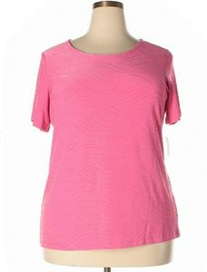 NWT☆Plus Size 1X Pink Short Sleeve Work Casual Top